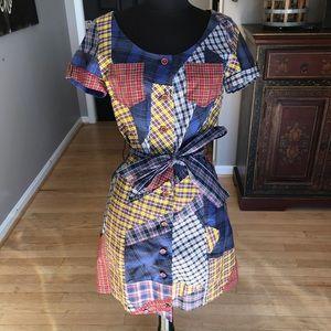 NWT Francis Plaid Patch Dress w/ Tie Belt Size 6